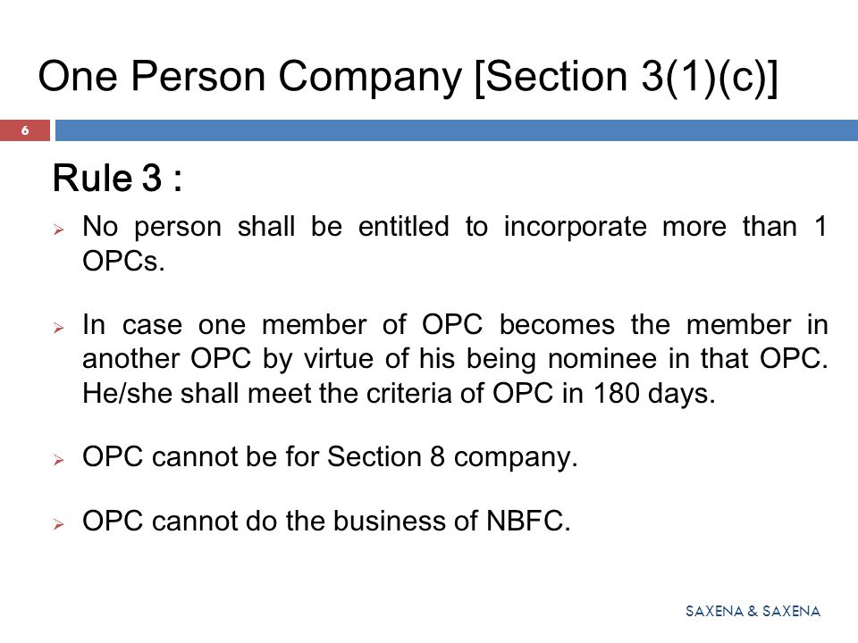 One Person Company [Section 3(1)(c)]